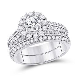 1 & 7/8 CTW Round Diamond Halo Bridal Wedding Ring 14kt White Gold - REF-361T3V