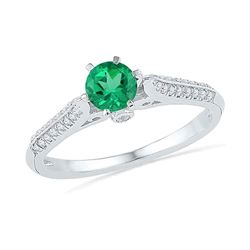 5/8 CTW Womens Round Lab-Created Emerald Solitaire Ring 10kt White Gold - REF-19N2A