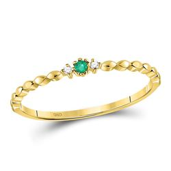 0.03 CTW Womens Round Emerald Solitaire Diamond-accent Stackable Ring 10kt Yellow Gold - REF-8N7A