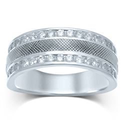 1 CTW Mens Round Diamond Double Row Textured Wedding Band Ring 14kt White Gold - REF-133M2F