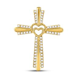 1/4 CTW Womens Round Diamond Heart Cross Pendant 10kt Yellow Gold - REF-25H9R