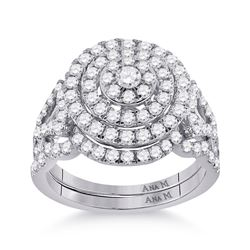 1 & 1/3 CTW Round Diamond Bridal Wedding Ring 14kt White Gold - REF-136V4Y