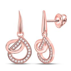 1/5 CTW Womens Round Diamond Teardrop Dangle Earrings 14kt Rose Gold - REF-27R3X
