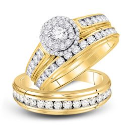 1 & 5/8 CTW His Hers Round Diamond Solitaire Matching Wedding Set 10kt Yellow Gold - REF-150F2W