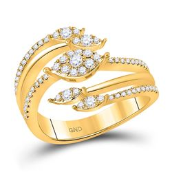 1/2 CTW Womens Round Diamond Open Strand Band Ring 14kt Yellow Gold - REF-65W4H