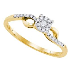 1/10 CTW Womens Round Diamond Cluster Promise Ring 10kt Yellow Gold - REF-13R5X
