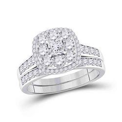 1 CTW Princess Diamond Bridal Wedding Ring 14kt White Gold - REF-99Y2N
