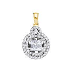 7/8 CTW Womens Princess Diamond Cluster Circle Frame Pendant 14kt Yellow Gold - REF-102W3H