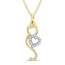 1/10 CTW Womens Round Diamond Cat Heart Animal Pendant 10kt Yellow Gold - REF-10A9M