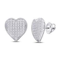 1/4 CTW Womens Round Diamond Heart Cluster Earrings 10kt White Gold - REF-23M3F