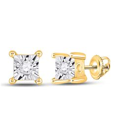 1/20 CTW Womens Round Diamond Miracle Stud Earrings 10kt Yellow Gold - REF-14R4X