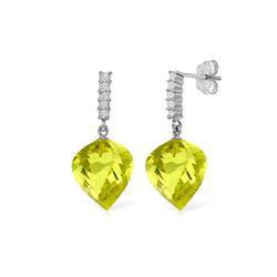 Genuine 21.65 ctw Lemon Quartz & Diamond Earrings 14KT White Gold - REF-52H9X