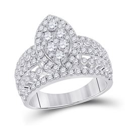 1 & 3/4 CTW Womens Round Diamond Marquise-shape Cluster Ring 14kt White Gold - REF-146M6F