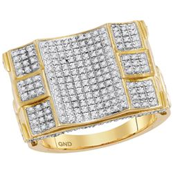 3/4 CTW Mens Round Diamond Concave Cluster Ring 10kt Yellow Gold - REF-81N2A