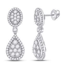 7/8 CTW Womens Round Diamond Teardrop Dangle Earrings 14kt White Gold - REF-85X4T