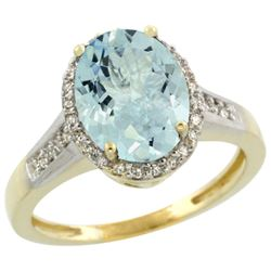 2.60 CTW Aquamarine & Diamond Ring 14K Yellow Gold - REF-55Y2V