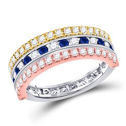1 & 1/4 CTW Womens Round Blue Sapphire Convertible Band Ring 10kt Tri-Tone Gold - REF-72V3Y