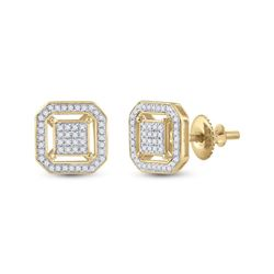 1/4 CTW Womens Round Diamond Square Earrings 10kt Yellow Gold - REF-22H5R
