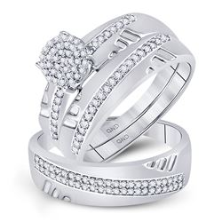 1/3 CTW His Hers Round Diamond Cluster Matching Wedding Set 10kt White Gold - REF-37V5Y