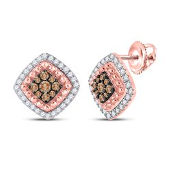 1/3 CTW Womens Round Brown Diamond Square Earrings 10kt Rose Gold - REF-36W7H
