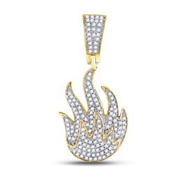 3/8 CTW Mens Round Diamond Flame Fire Charm Pendant 10kt Yellow Gold - REF-43R5X