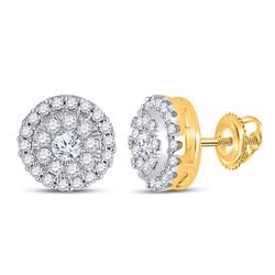 1/2 CTW Womens Round Diamond Halo Earrings 10kt Yellow Gold - REF-40N8A