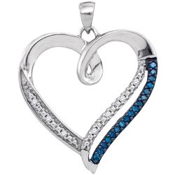 1/6 CTW Womens Round Blue Color Enhanced Diamond Heart Outline Pendant 10kt White Gold - REF-17A6M