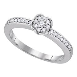 1/5 CTW Womens Round Diamond Cluster Ring 10kt White Gold - REF-23N3A