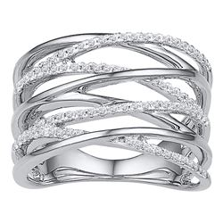 1/4 CTW Womens Round Diamond Crossover Open Strand Band Ring 10kt White Gold - REF-37M5F