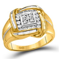 1/2 CTW Mens Round Diamond Square Cluster Ring 10kt Yellow Gold - REF-51W2H