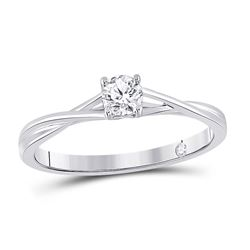 1/4 CTW Womens Round Diamond Solitaire Bridal Wedding Engagement Ring 14kt White Gold - REF-47Y6N