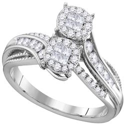 1/2 CTW Princess Round Diamond Bypass Bridal Wedding Engagement Ring 14kt White Gold - REF-63W5H