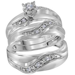 1/6 CTW His Hers Round Diamond Solitaire Matching Wedding Set 10kt White Gold - REF-54T5V