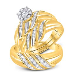 5/8 CTW His Hers Round Diamond Solitaire Matching Wedding Set 10kt Yellow Gold - REF-71A6M