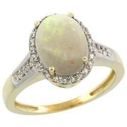 2.60 CTW Opal & Diamond Ring 14K Yellow Gold - REF-54H4M