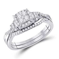 3/8 CTW Round Diamond Bridal Wedding Ring Band Set 10kt White Gold - REF-49R3X