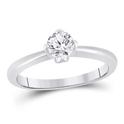 1/2 CTW Womens Round Diamond Solitaire Bridal Wedding Engagement Ring 14kt White Gold - REF-81Y7N