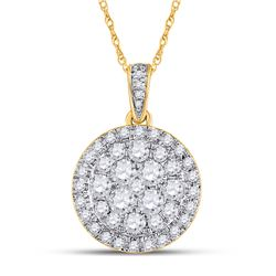1 CTW Womens Round Diamond Cluster Pendant 14kt Yellow Gold - REF-102R3X