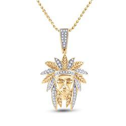 3/4 CTW Mens Round Diamond Native Headdress Charm Pendant 10kt Yellow Gold - REF-81F7W