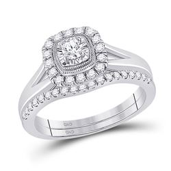 1/2 CTW Round Diamond Bridal Wedding Ring 10kt Two-tone Gold - REF-64R8X