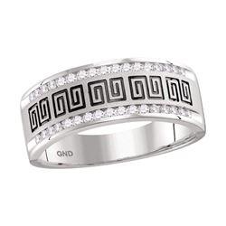 1/3 CTW Mens Round Diamond Wedding Machine-Set Band Ring 14kt White Gold - REF-61N4A