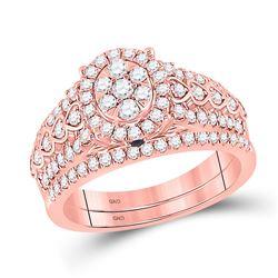 7/8 CTW Round Diamond Bridal Wedding Ring 14kt Rose Gold - REF-105R7X