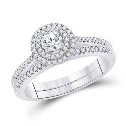 1/2 CTW Round Diamond Bridal Wedding Ring Band Set 10kt White Gold - REF-68W2H