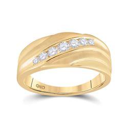1/2 CTW Mens Round Diamond Diagonal Wedding Band Ring 10kt Yellow Gold - REF-54X5T