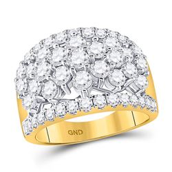 3 CTW Womens Round Diamond Pave Flower Cluster Ring 14kt Yellow Gold - REF-265F9W