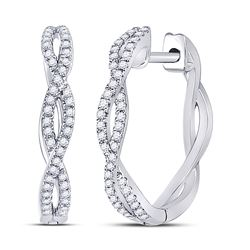 1/5 CTW Womens Round Diamond Twist Hoop Earrings 10kt White Gold - REF-24F5W
