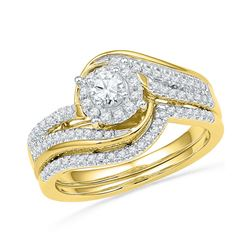 1/2 CTW Round Diamond Bridal Wedding Ring 10kt Yellow Gold - REF-61T9V