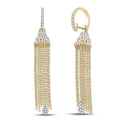 1 & 5/8 CTW Womens Round Diamond Chain Teardrop Dangle Earrings 14kt Yellow Gold - REF-170M5F