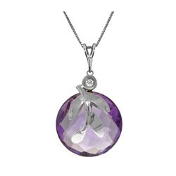 Genuine 5.32 ctw Amethyst & Diamond Necklace 14KT White Gold - REF-31P2H