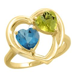 2.61 CTW Diamond, London Blue Topaz & Lemon Quartz Ring 14K Yellow Gold - REF-33A9X